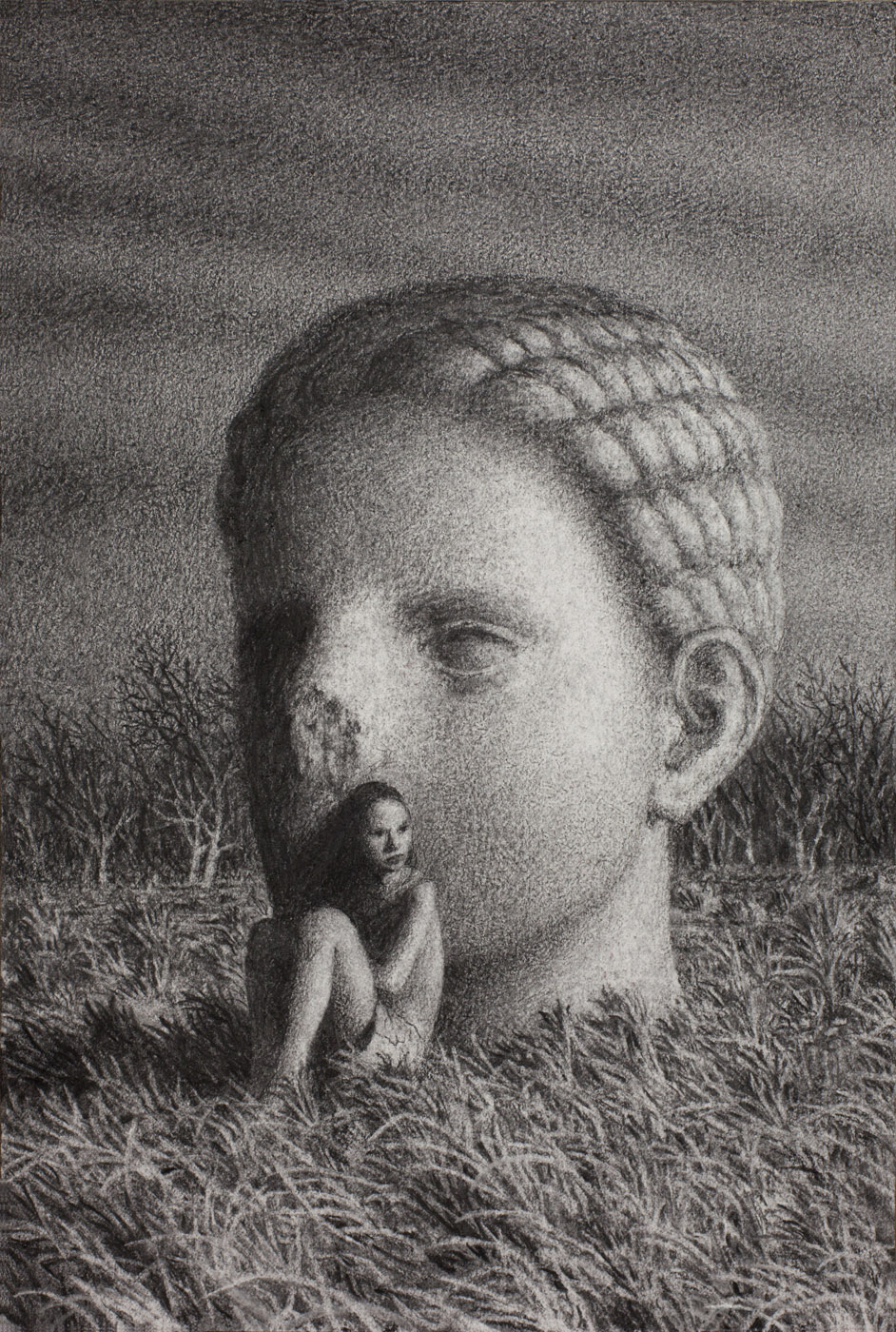 Vigil 8 , charcoal on paper, 15 x 10 in / 38 x 25 cm, 2013