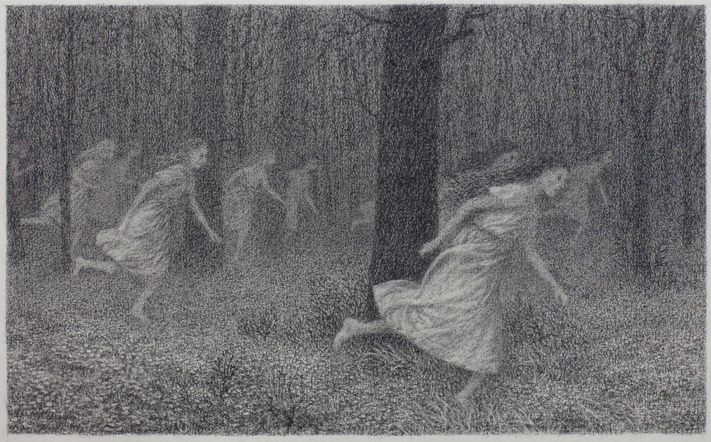 Running Women , conte on paper, 12 x 20 in, 2014