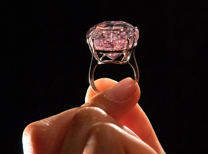 The Pink Star, a 59.6 carat oval mixed-cut pink diamond that is the largest internally flawless stunning pink diamond the Gemological Institute of America has ever graded.