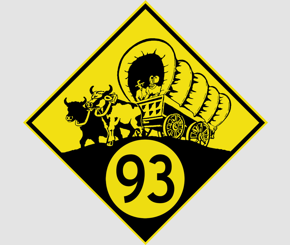 ninety-three: the t-shirt and stickers (Five different highway sign logos) Click here to purchase.