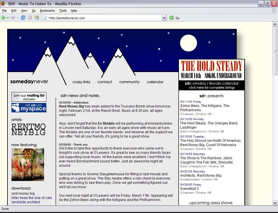 somedaynever.com, circa 2005