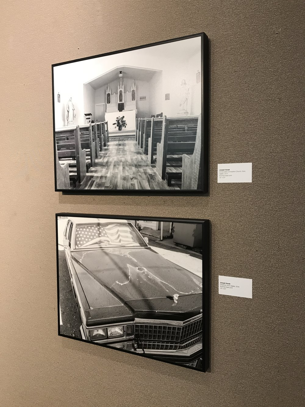 Images from Oglala on display at the W. Dale Clark Library in 2019