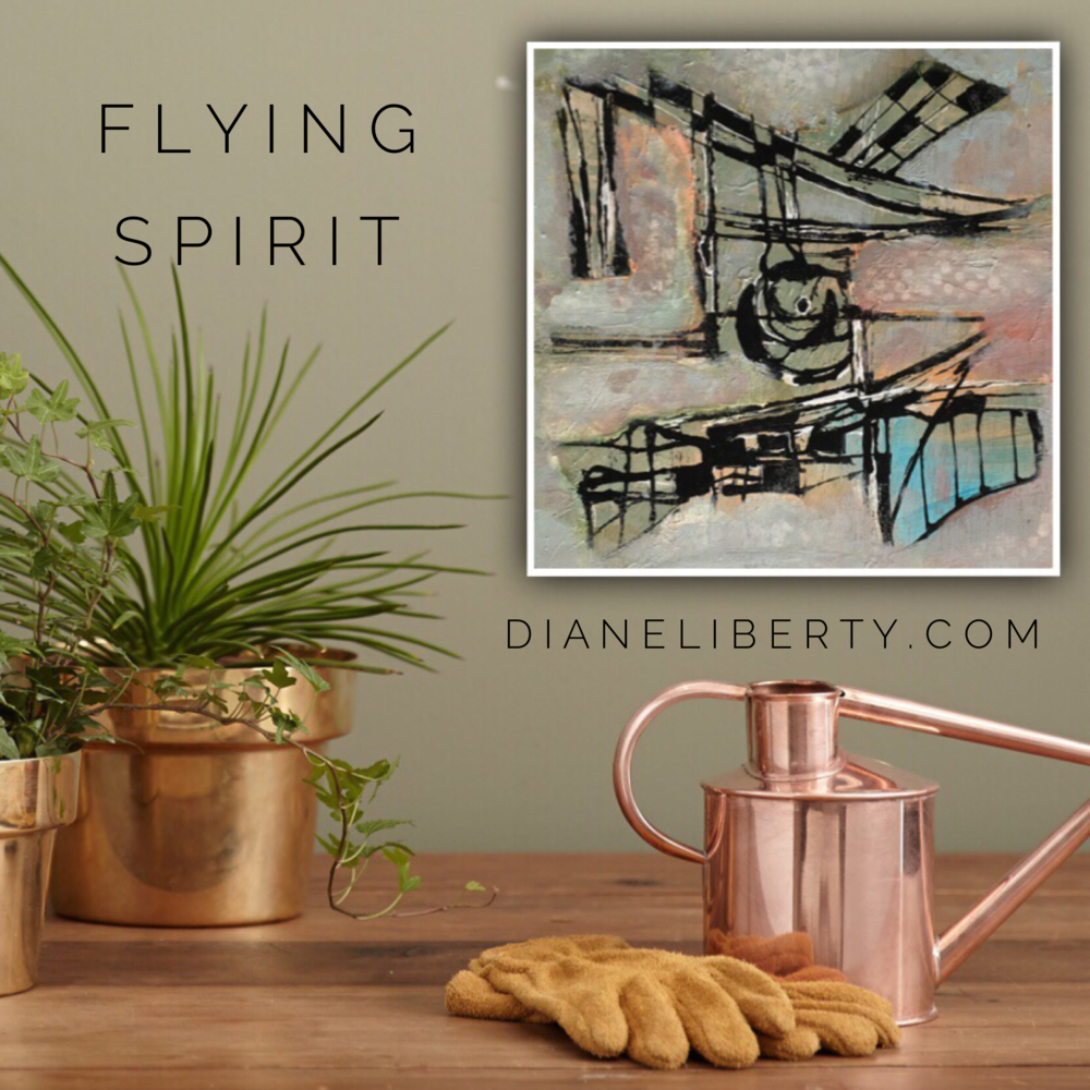 """Flying Spirit"" by Diane Liberty, Mixed Media Abstract Artist from Calgary, Alberta"