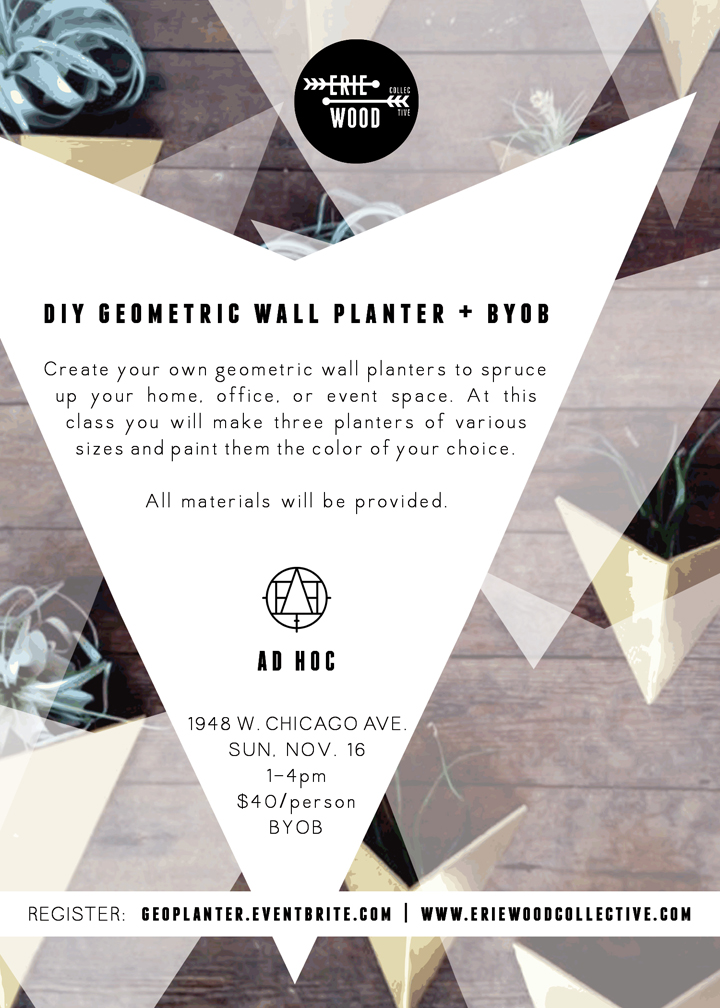 the eriewood collective diy geometric planters class ad hoc