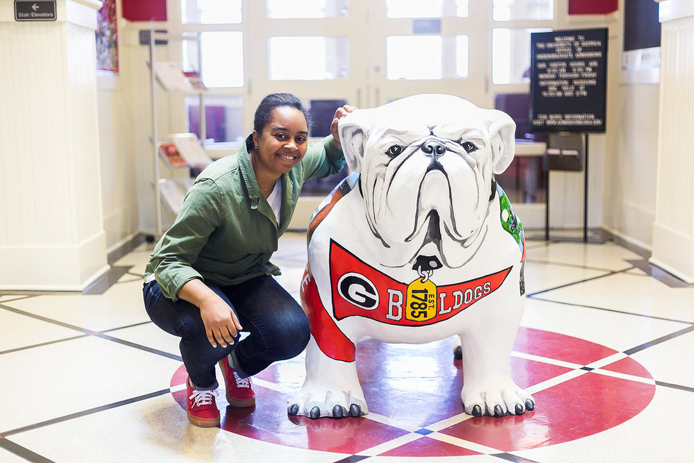 I wanted Terrell's front to be recognizable as an actual bulldog - the proud mascot of UGA. The spirit of the pennant and dog tag (with the year of UGA's charter) offer a great photo op to his many visitors (including future Bulldogs).