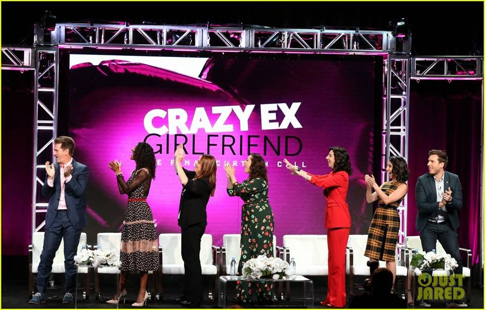 "The cast of Crazy-Ex Girlfriend applauding ""Top Pop"" - Season 4 TCA Panel - The CW"