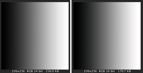 Fig.21 TrueColor と RGB16bitのグラデーション表示
