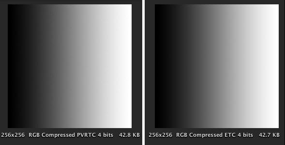Fig.23 PVRTCとETC1でのグラデーション表示