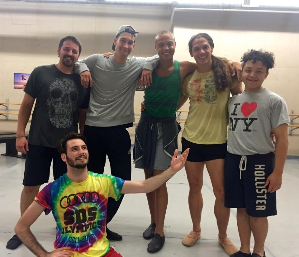 Out on a Limb Company Member David Bensussan with Guest Artists Kevin Iverson, Jeff Robinson, Timothy Herian, Edward Albert and Galen Higgins taking a break from rehearsal.