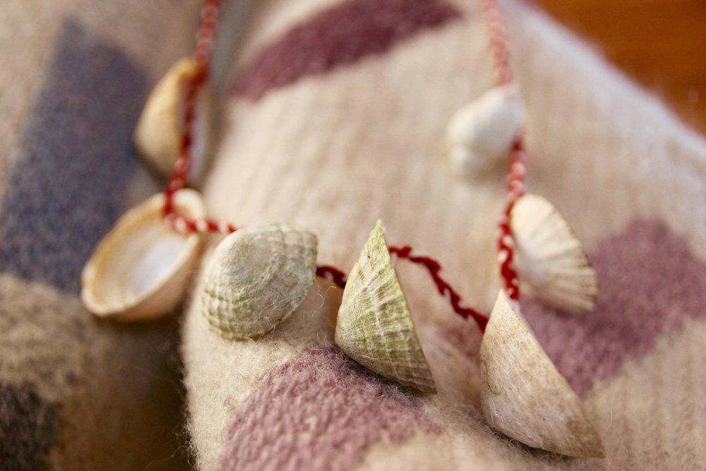 My meditation calendar made of shells and wool.