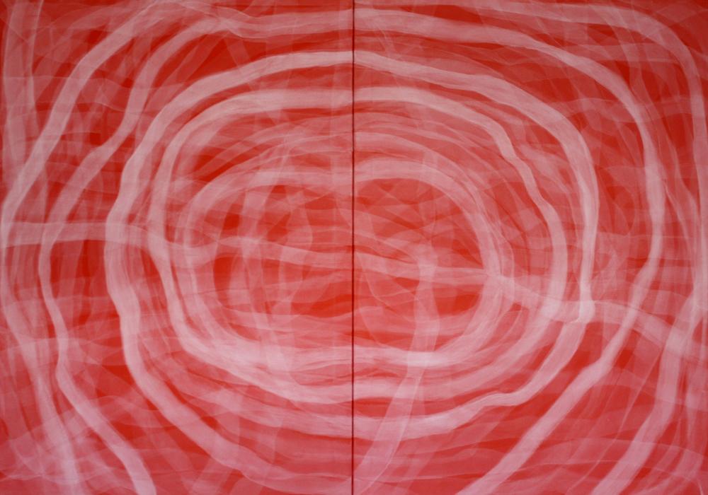"""sin pausa"" 140 x 200 cm (díptico). acrílico en lienzo."
