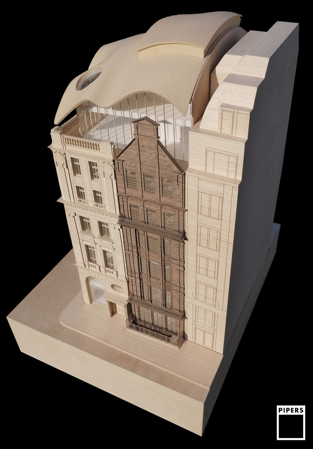39 saint james square architecture facade timber model