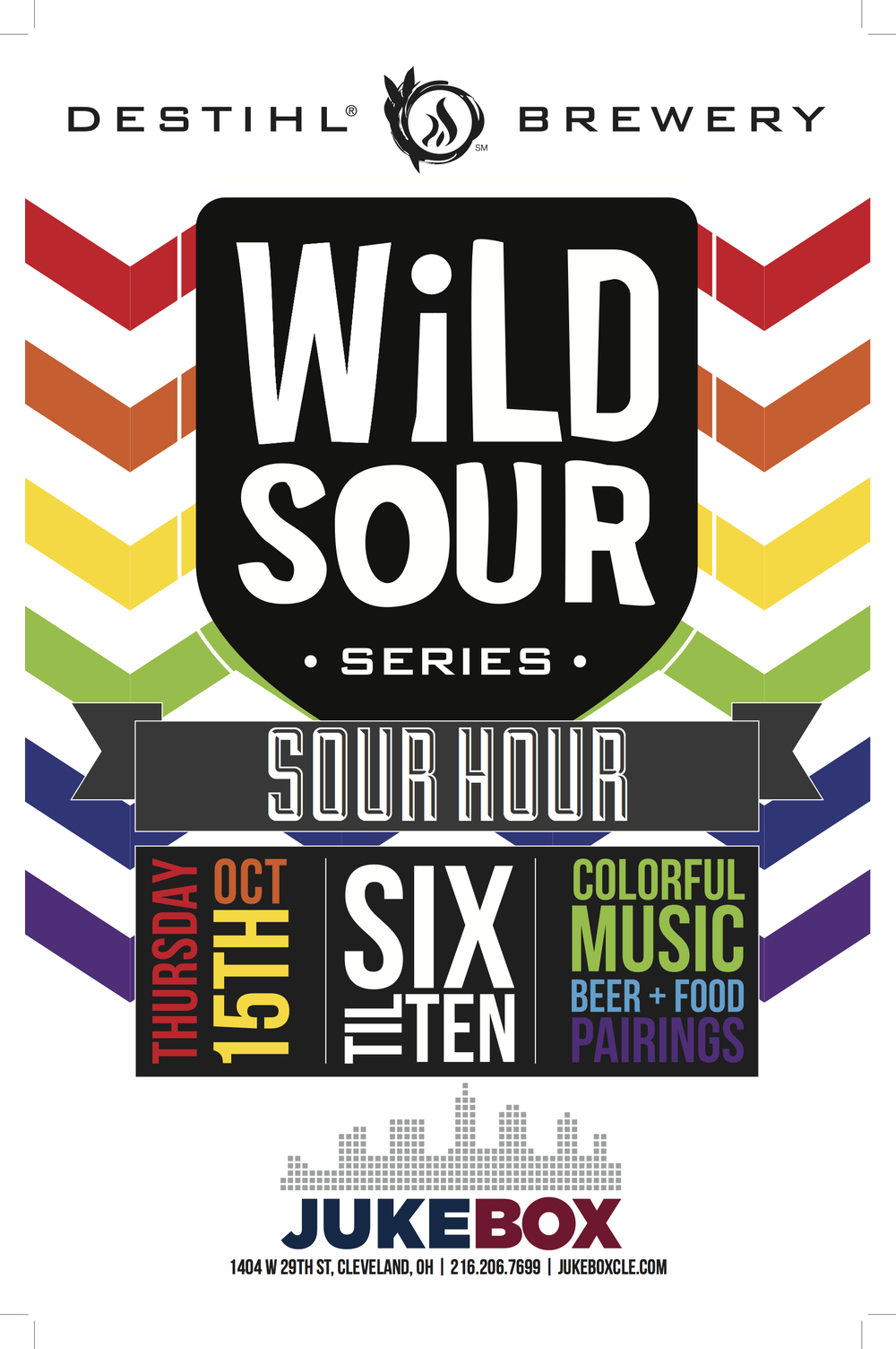EXPECT A VARIETY OF DESTIHL BREWING'S SOUR SERIES. PROFILED OVER 4 HOURS, EACH SOUR WILL HAVE A MUSICAL COMPLIMENT FOR EACH COLORFUL FLAVOR. PLUS FOOD PAIRINGS & DISCOUNTS. DETAILS BELOW: 6PM - ADAMBIER (PURPLE) W/ PRINCE, PURPLE RAIN 7PM - COUNTER CLOCKWEISSE (YELLOW) W/ ELTON JOHN, GOODBYE YELLOW BRICK ROAD 8PM - HERE GOSE NOTHIN' (GREEN) W/ CREEDENCE CLEARWATER REVIVAL, GREEN RIVER 9PM - LYNNBROOK RASPBERRY (PINK) W/ THE BAND, MUSIC FROM BIG PINK