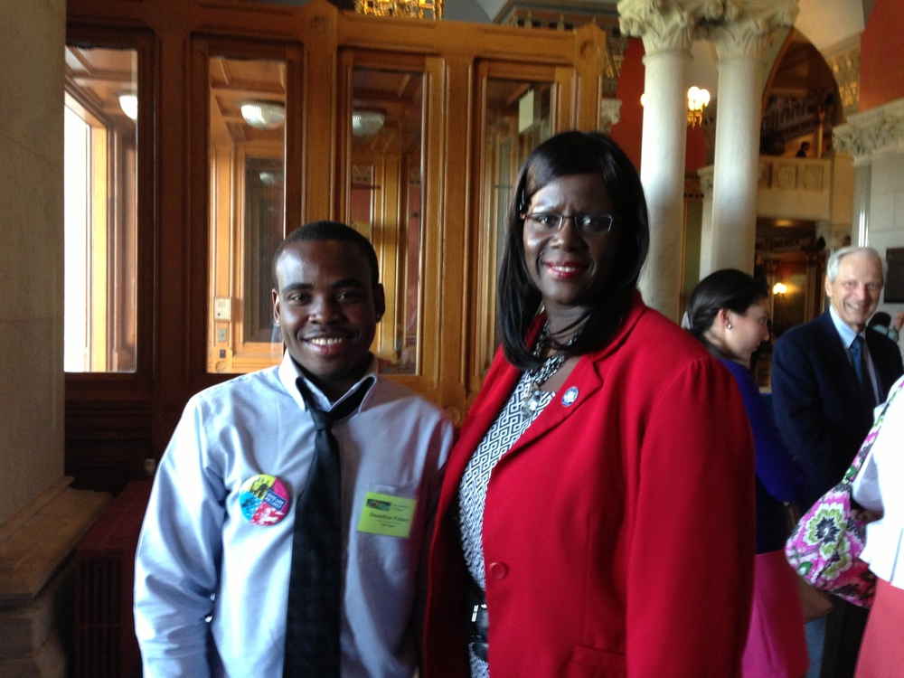 "Stamford Academy student Daundrae Palmer with Stamford State Representative Patricia ""Billie"" Miller"