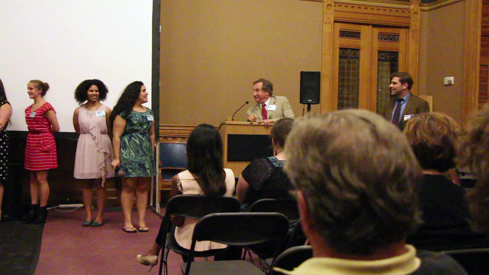 Civic Life students answer question about their films at a screening at the Capitol building in Hartford.