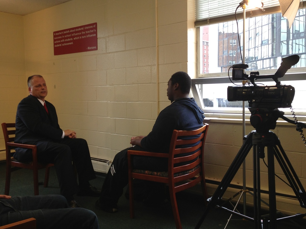 Civic Life student Jaycen Lawson interviews Stamford's Director of Health, Safety and Welfare, Ted Jankowski.