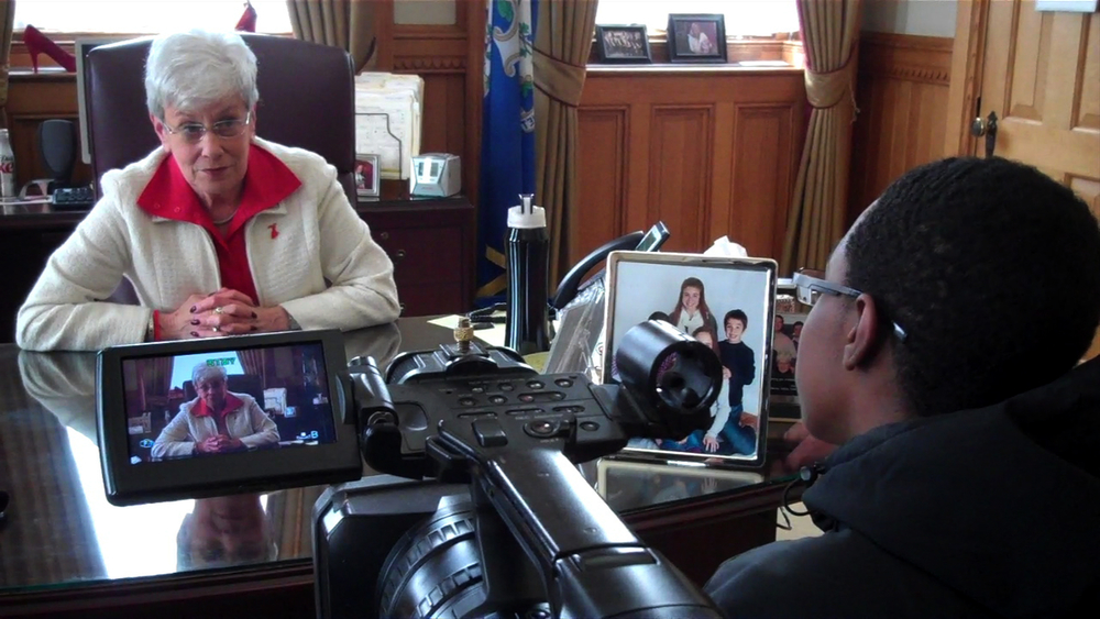 After the interview Lt. Gov Nancy Wyman asks Shamar about his personal views on gun control.
