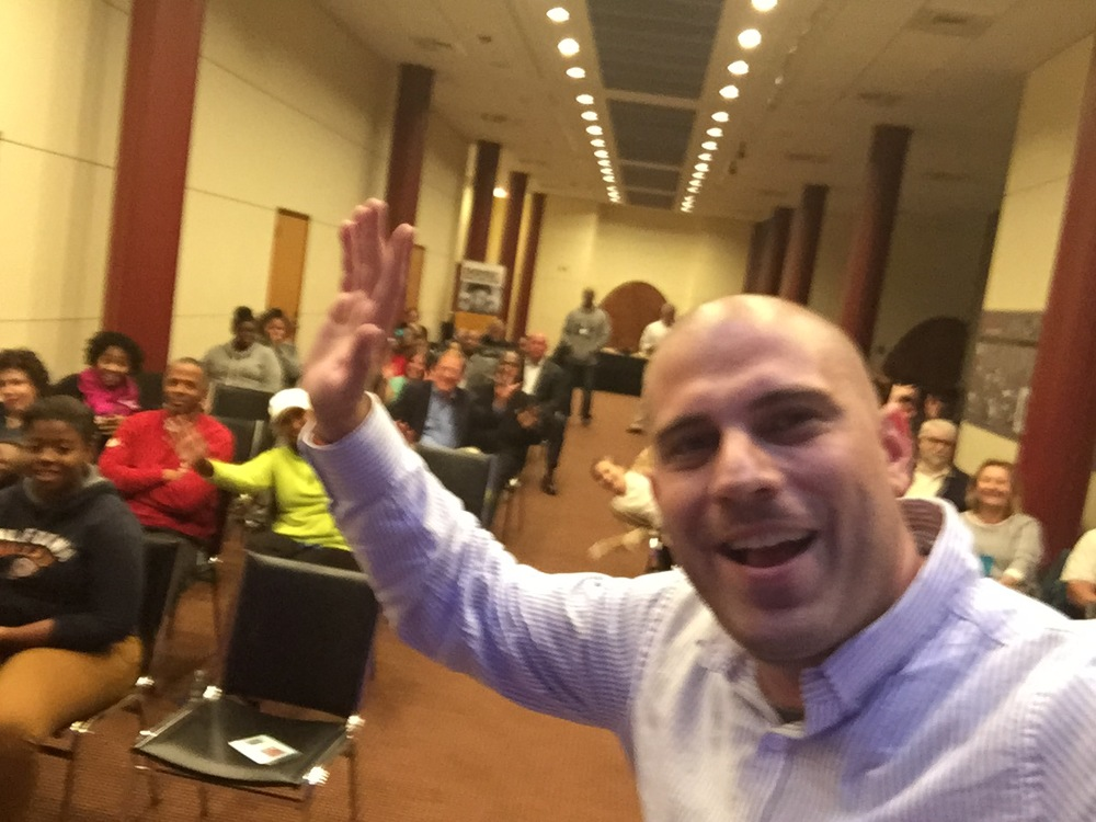Civic Life Project coordinator Ben Willis, takes a selfie with the audience...what-a-goofball