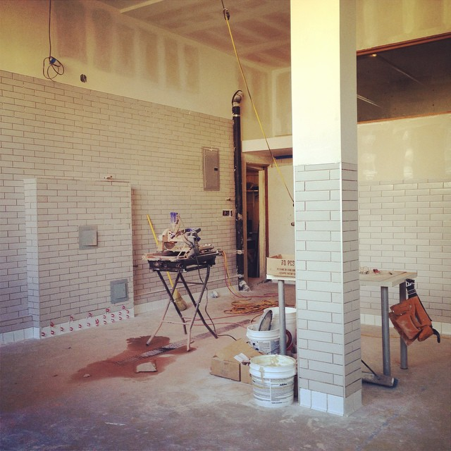 7000+ Tiles After three straight weeks of tiling we have put down over 7000 tiles to water proof the kitchen, bar, and brewery.
