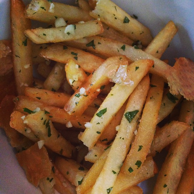 Duck fat fries with chicken skin chips