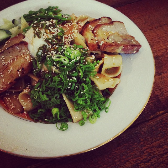 Hand pulled cold noodles with pork belly and soft boiled egg.