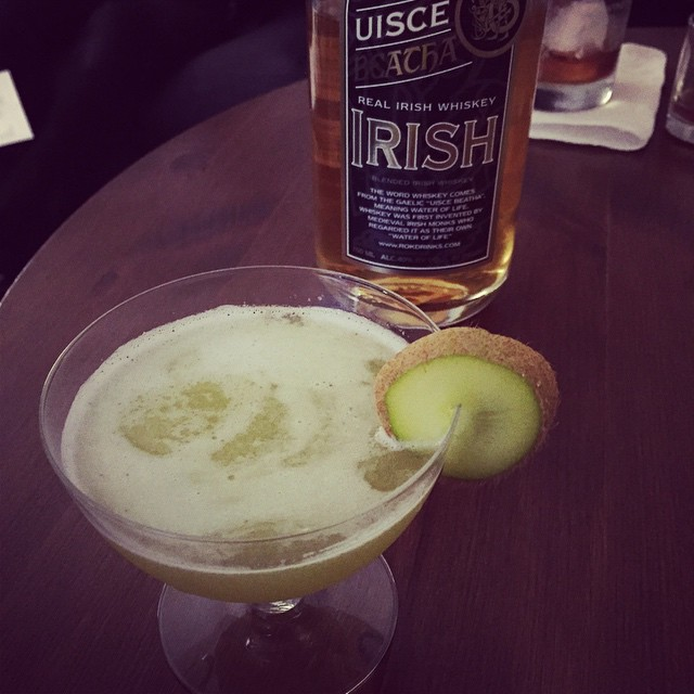 The Michelle: Irish whisky, dry vermouth, fresh kiwi, mosaic hopped honey, and grapefruit hopped bitters.