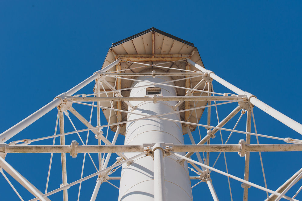 Looking up at the Cape San Blas Lighthouse.