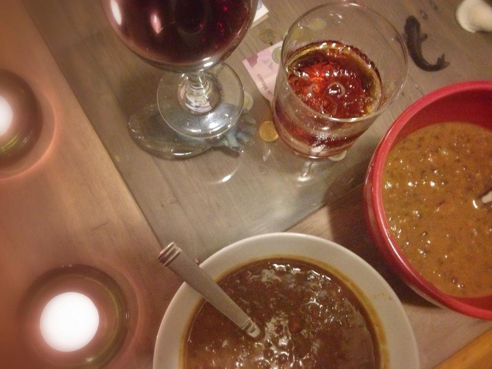 Bean soup, candles & wine. Pure romance.