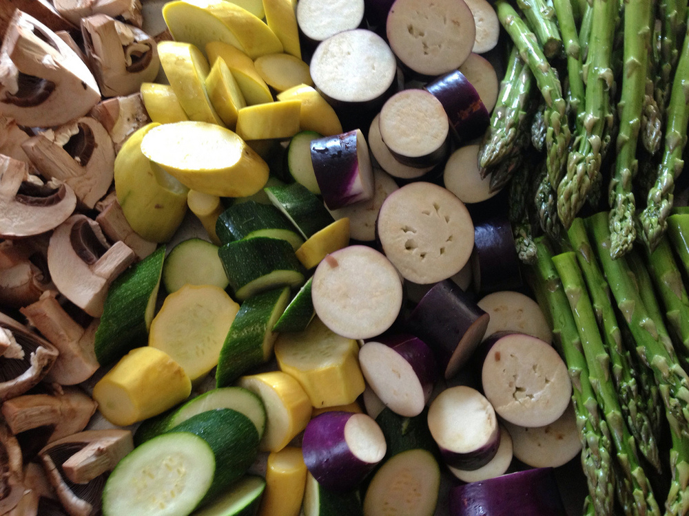 Summer vegetables ready to be grilled