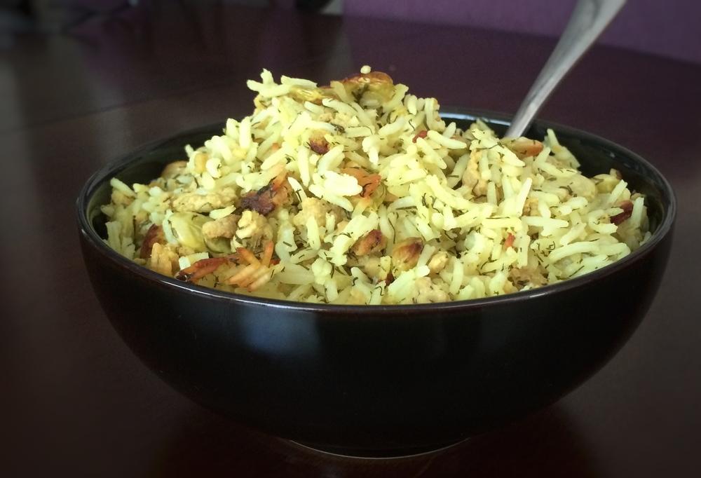 bowl of baghli poloh