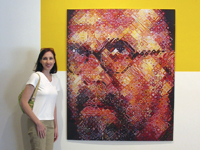 Linda at Chuck Close exhibit, Miami Museum of Contemporary Art, 2004