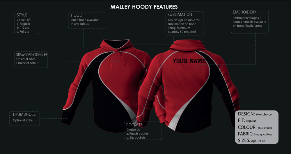 malley customized hoodie features