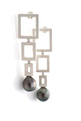 Triple Square Drop Earrings  Sterling Silver with Tahitian Pearl $562.50 USDSterling Silver with Smoky Quartz $440.00 USD  Gold Finish with Freshwater Pearl $440.00 USDGold Finish with Green Amethyst $440.00 USD
