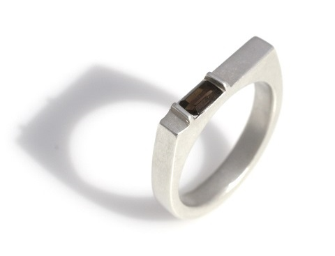 Rectangular ring with smoky quartz