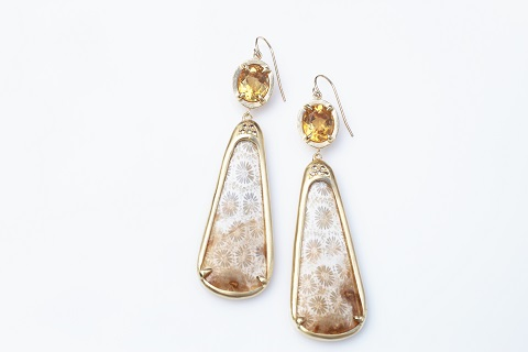 Custom drop earrings with citrine