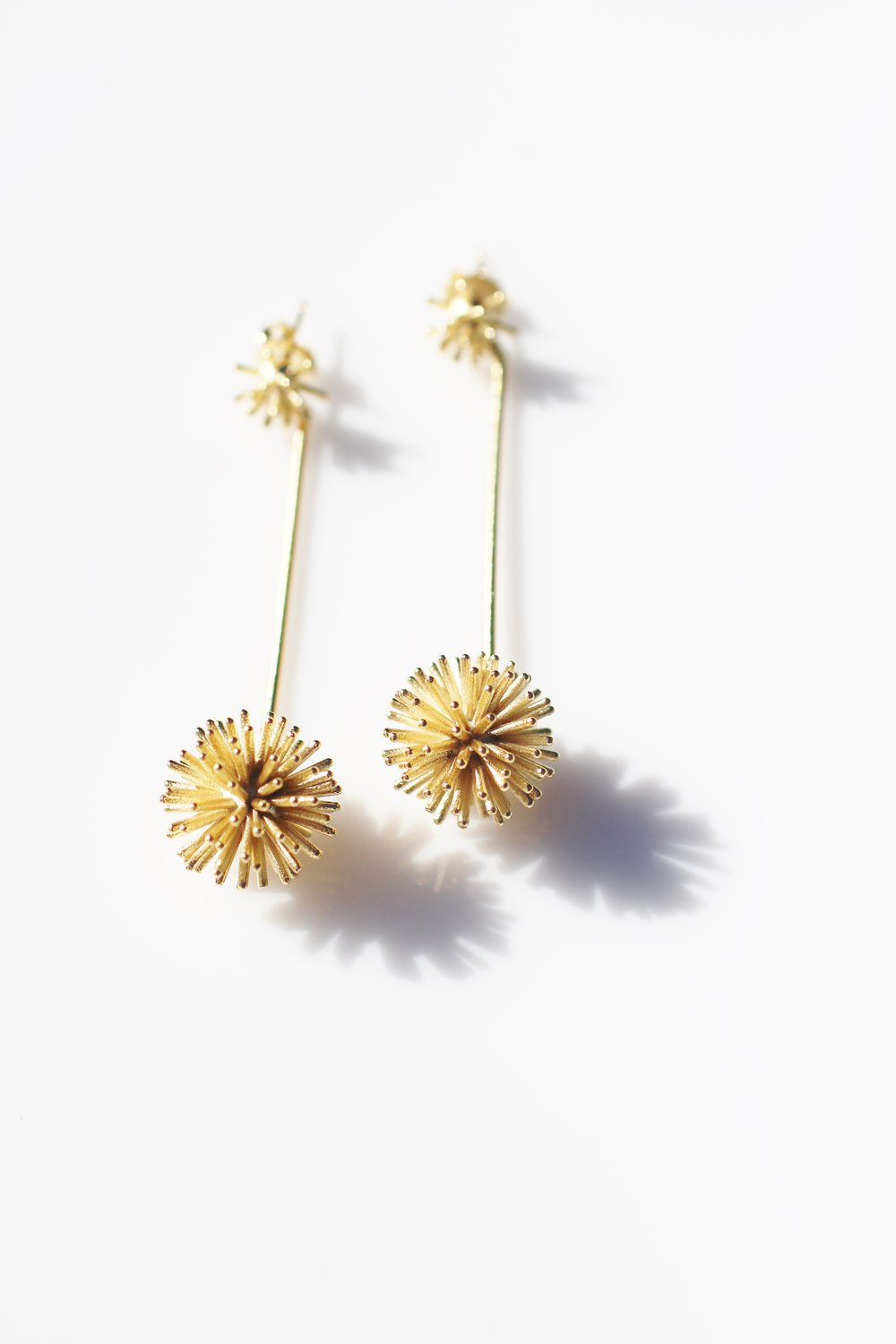 Burst drop earrings - gold plate