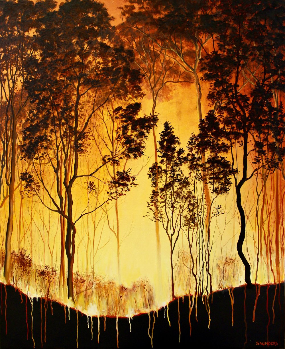 Eucalyptus Burning       ($875) Oil- 32 x 26 inches.      SOLD        I have seen a lot of dramatic weather and storms impacting our world the past few years.  Climate change scares me and fascinates me. Fire is a hypnotizing and beautiful sight, but the frequency of these fires on the west coast is something out of the ordinary.      For information...