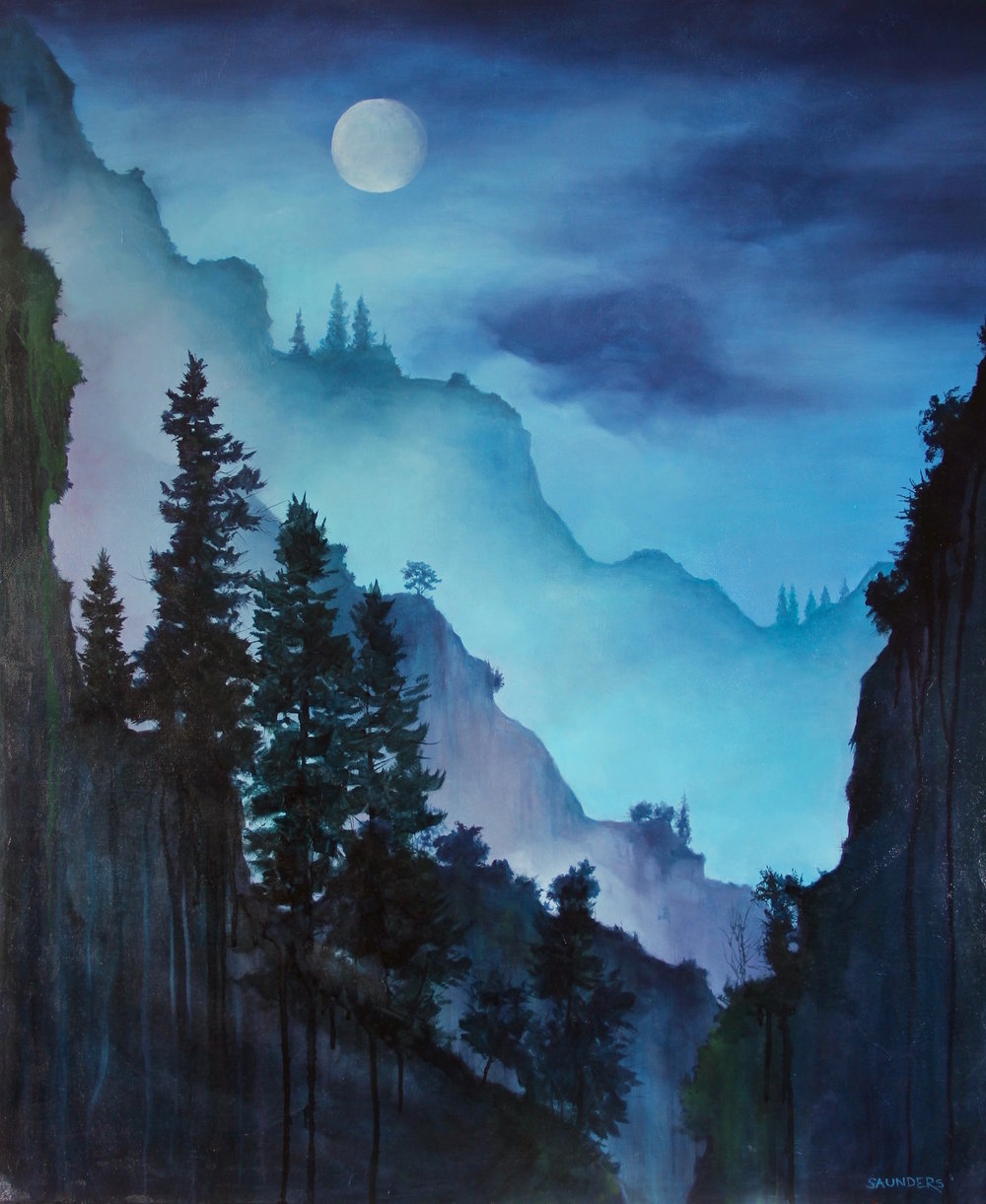 Getting Clear       ($975) Oil- 36 x 30 inches.    Available for purchase.      The night shows a majestic side while the fog moves over the hills.  Everything is alive and in constant motion.  This is when I feel clear and at peace.     contact:david@hawkmerlinstudios.com