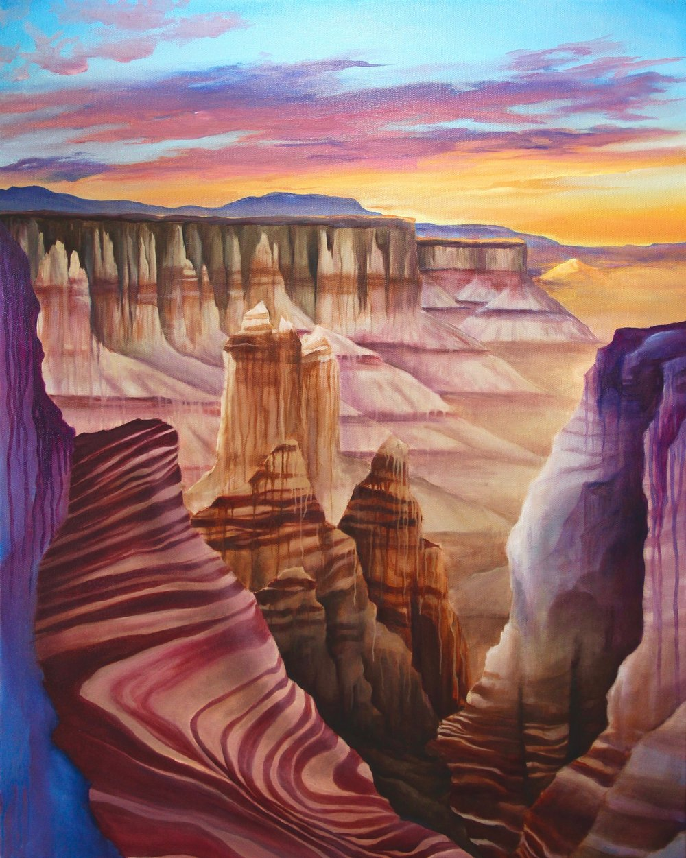 Homeland       ($825) Oil- 32 x 26 inches.    Available for purchase.      I'm from Wyoming and will always have a connection to the land.  It's often so desolate and quiet that if you set foot somewhere out there it's as if you know that no other human has ever touched the same spot.  The badlands are so full of color and shapes that you can see the millions of years that have passed, right in front of you. This painting is a glimpse into that land that I love so much.      For information...