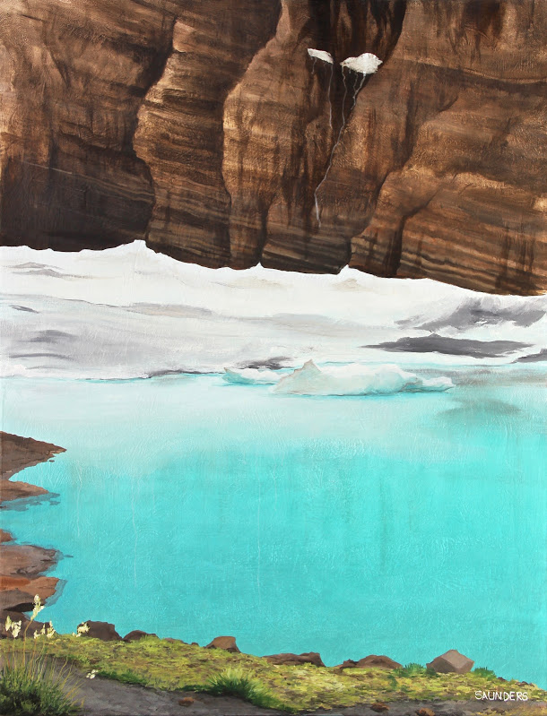 Remnants      ($550) Oil- Remnants- 30 x 24 inches.      SOLD        Traveling to Glacier National Park was incredible.  Incredible because of the stunning landscape but also the realization that these glaciers I was looking at may not be here in five years.  Nothing captures me more than this earth we live on.  When I stand next to water this blue, it's as if I have gone out of my body and am seeing myself from the outside in.  Are these colors real and will this become only remnants of a beautiful past?  This piece is dear to my heart and I will always have a strong connection with it.      For information...