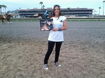 Chelsea on the backside of the Del Mar Race Track holding one of our books. Her trips to Del Mar were the inspiration for the poems above.
