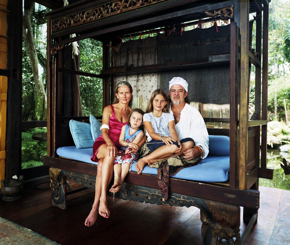 John Hardy with wife Cynthia and daughters Carina and Chiara - Bali, Indonesia
