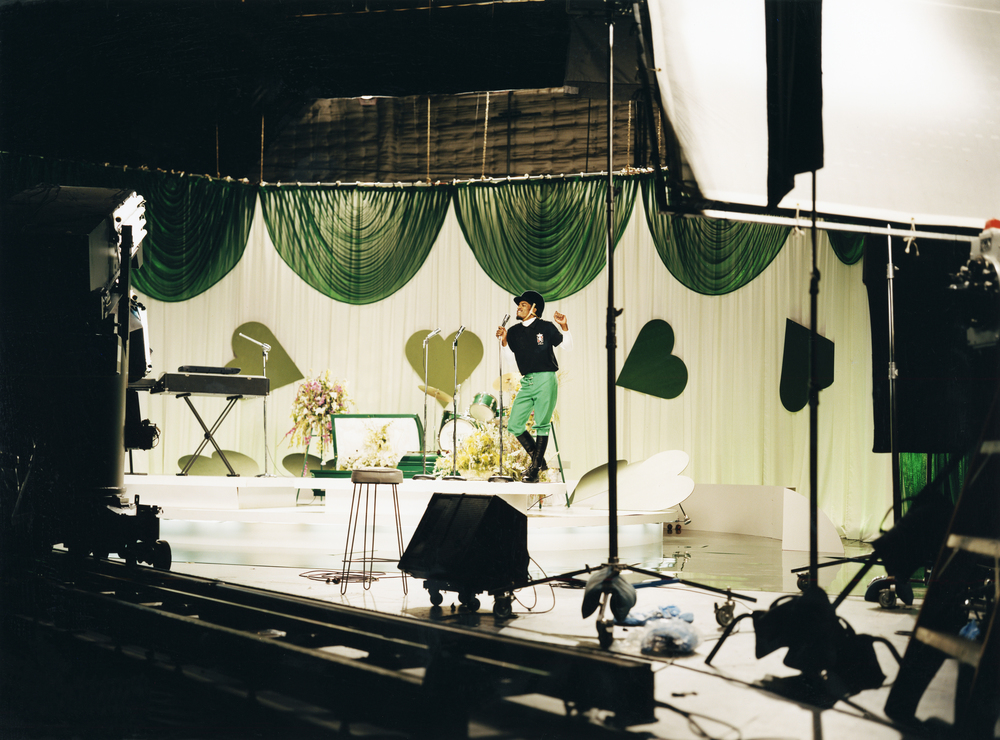 """Outkast - André 3000 on the video set for """"Hey Ya"""" - Los Angeles, CA"""