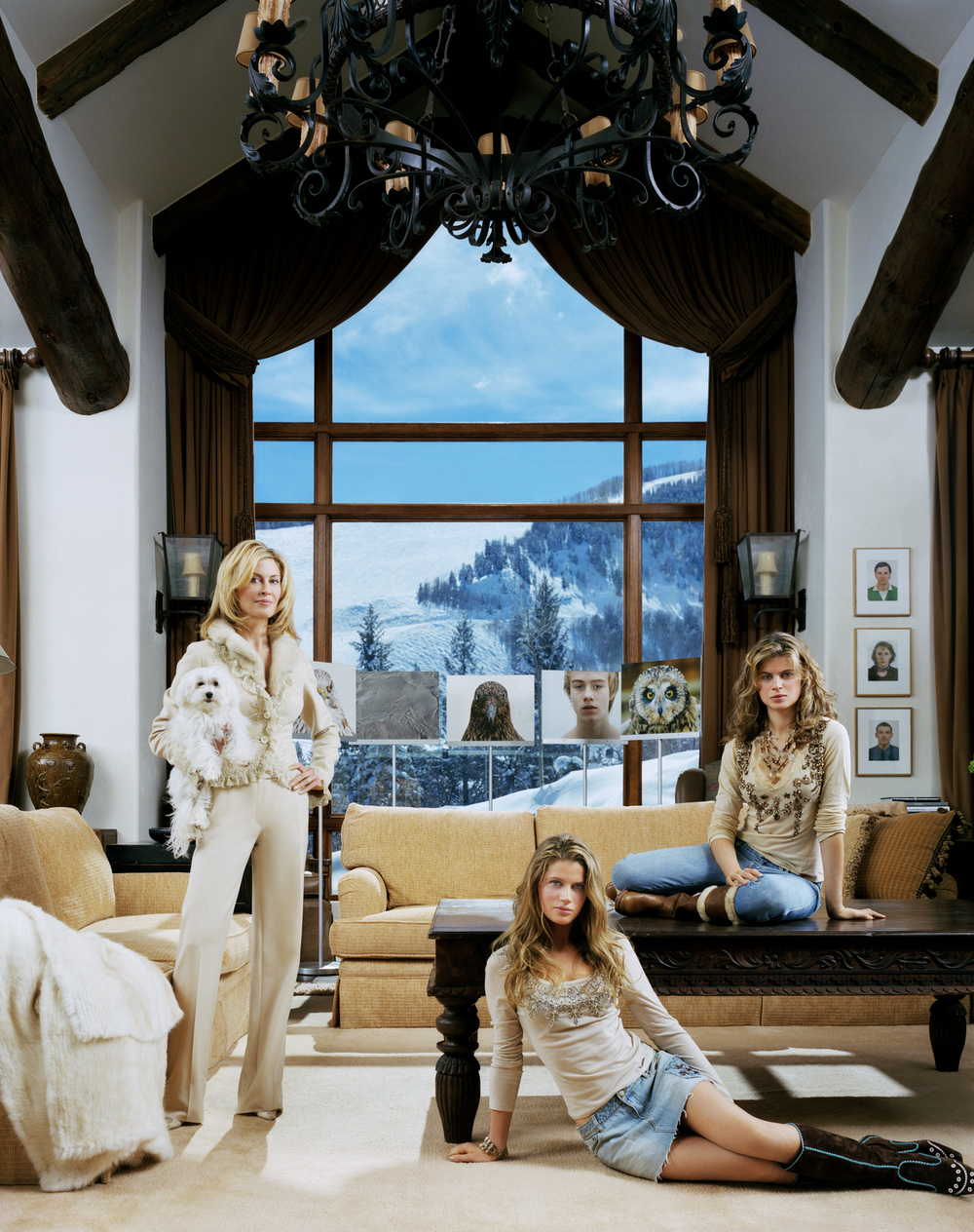 Jennifer Stockman of the Guggenheim Foundation with daughters Victoria and Rachel at their home in Aspen, CO