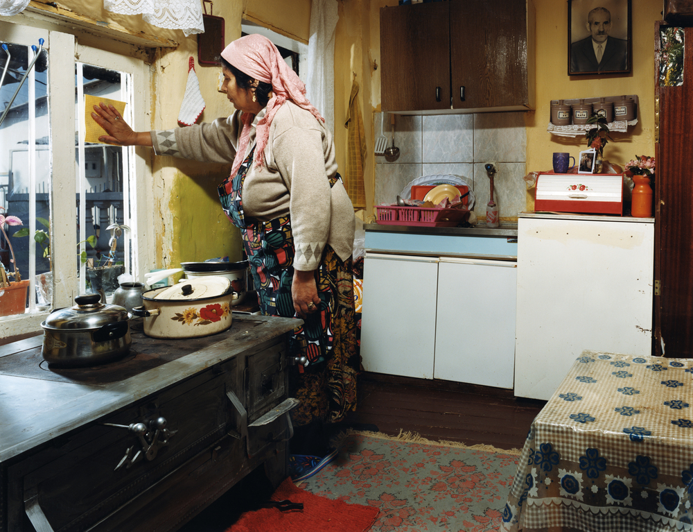 Gypsie (Roma) woman - photographed in her home in Shutka, Macedonia. Shutka, just outside of the Mecedonian capital Skopia is the only fully autonomous Roma-run town in Europe, with it's own news station, school system and municipal administration with Romani serving as the official language.