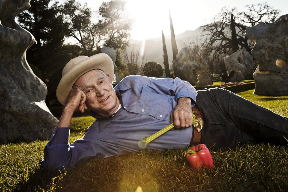 David Murdock - the multi-billionaire mogul, owner of Dole Foods whose decided to live to see his 125th birthday - in his famed garden of giant stones imported from Thailand's River Kwai on his ranch outside of Los Angeles, CA