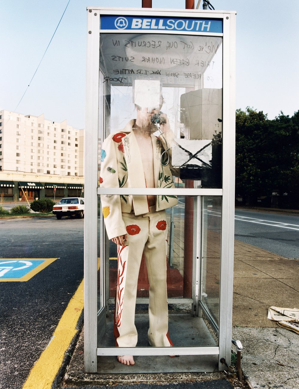 Dallas wearing Gram Parsons' Nudie Suit - IHOP parking lot -Nashville, TN