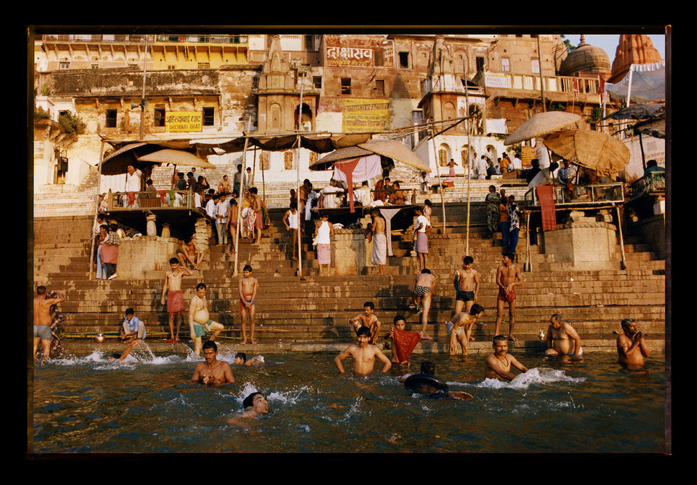 Polaroid - Pilgrims bathing in Ganges River - Varanasi, India
