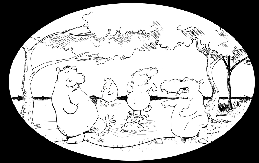 """Choice C: A Hippo Hullabaloo 11""""x14"""" Black & White Print Color and Frame Illustration by Sam Moodey"""