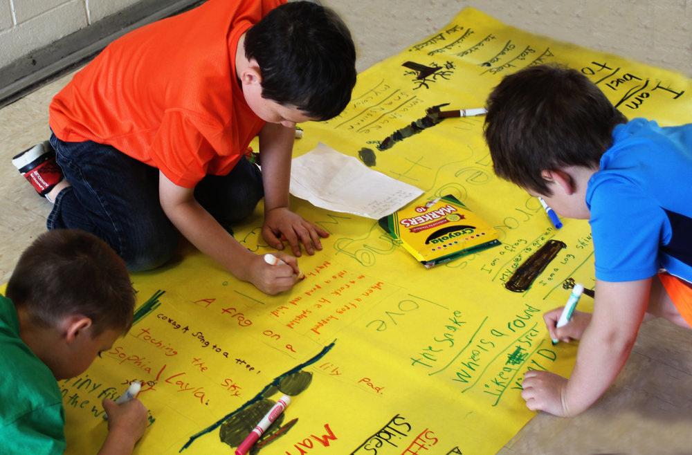 Ledgeview Elementary 1st graders compose poem mural.